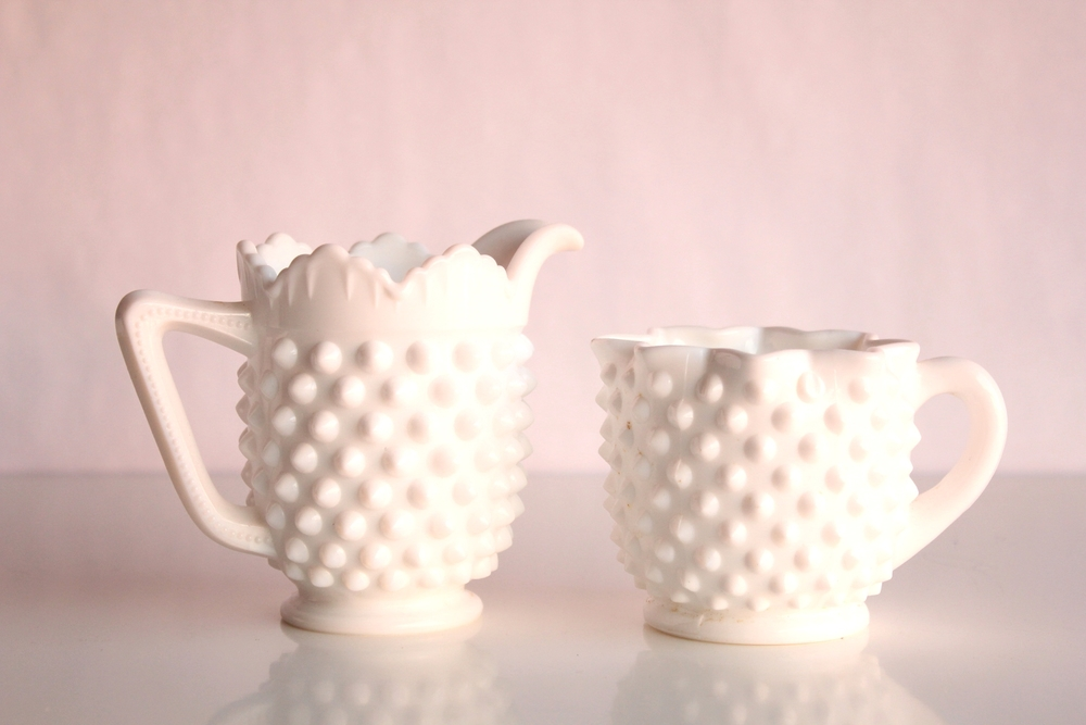 Milk Glass Hobnail Creamer + Sugar Set