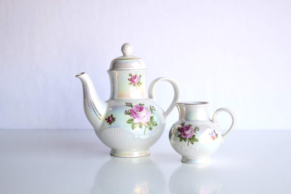 Rose Collection Teapot + Creamer Set