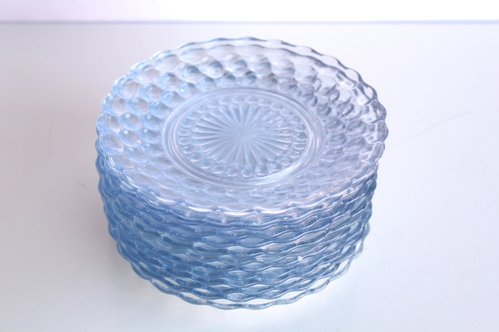 Blue Bubble Glass Cake Plates