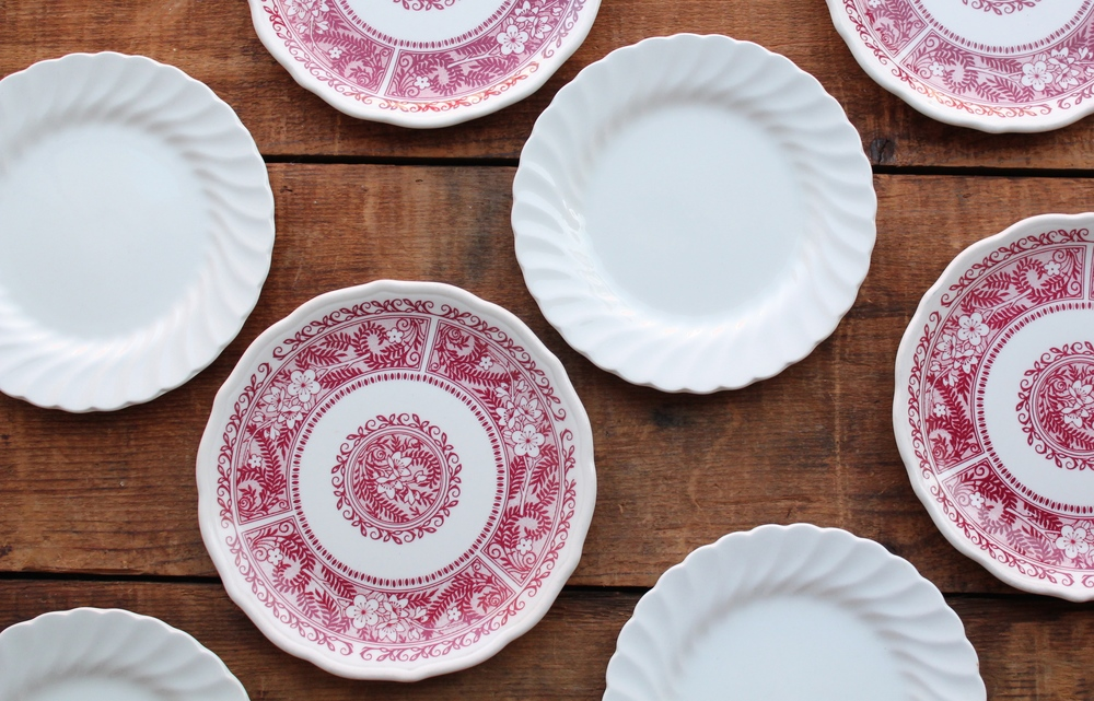 White Bone China Dessert Plates