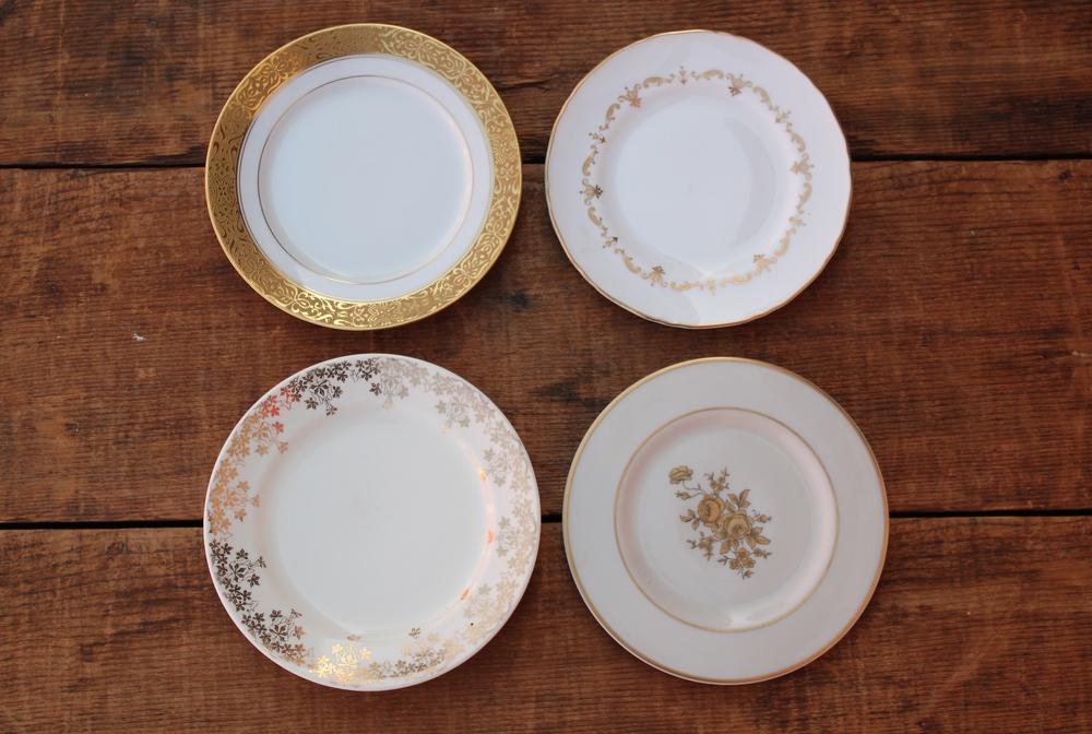 White + Gold Dessert Plates