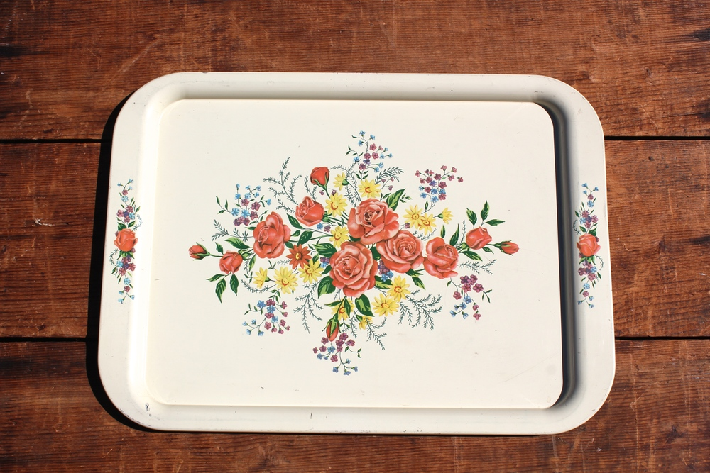 Rectangle White Floral Tray