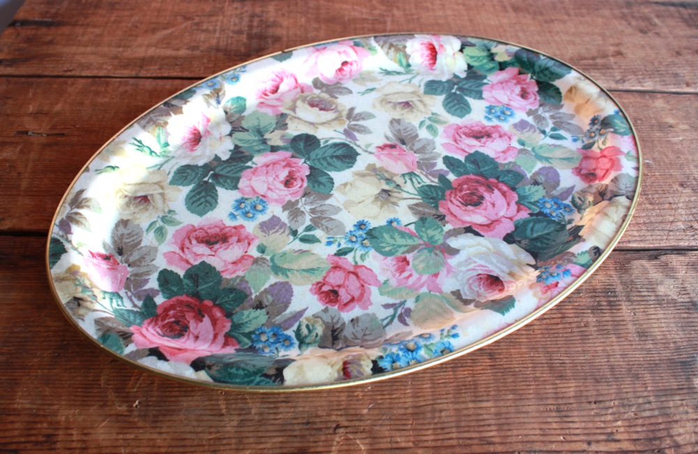 vintage rose tray