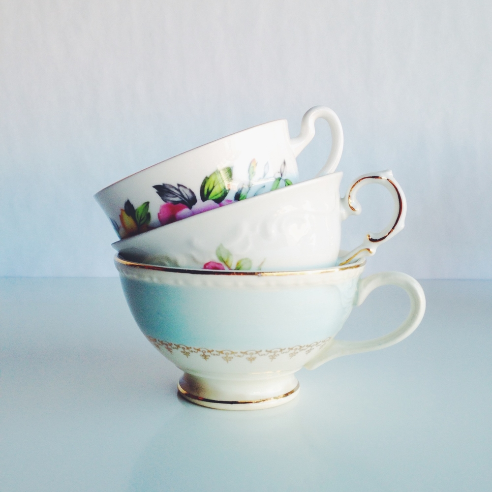 Golden Floral Tea Cups