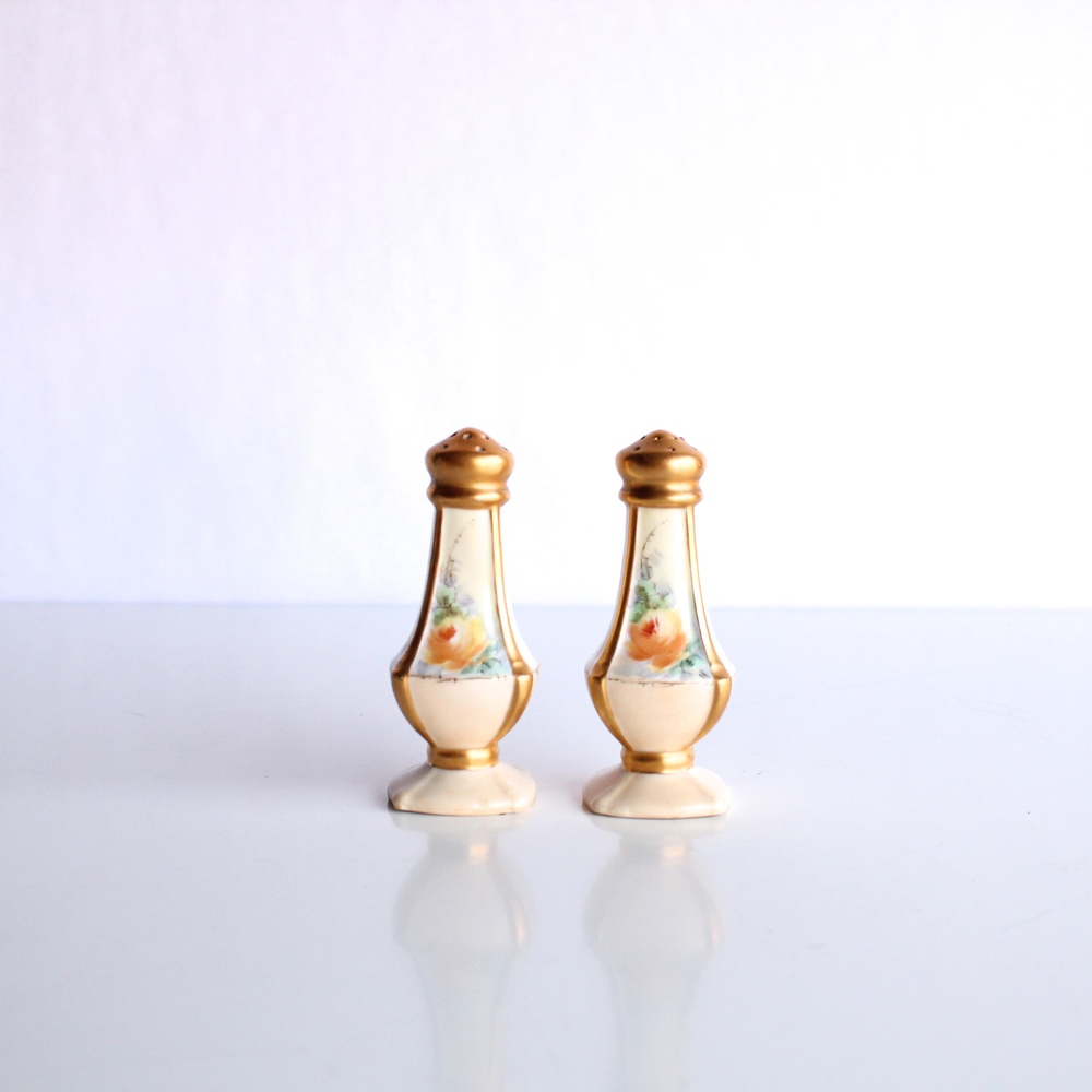 Golden Floral Salt and Pepper Shakers