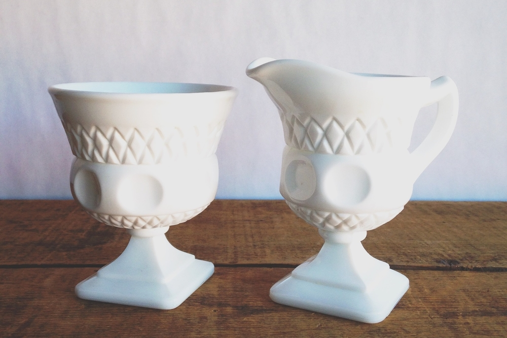 Milk Glass Thumbprint Creamer + Sugar Set