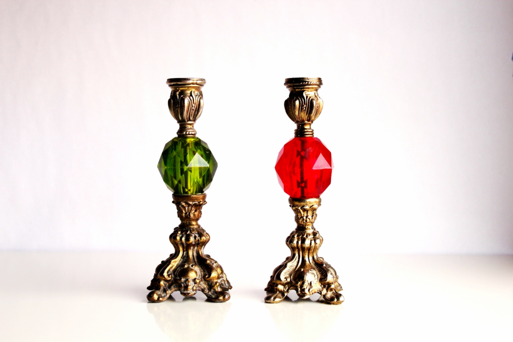 Colored Crystal and Brass Candlesticks