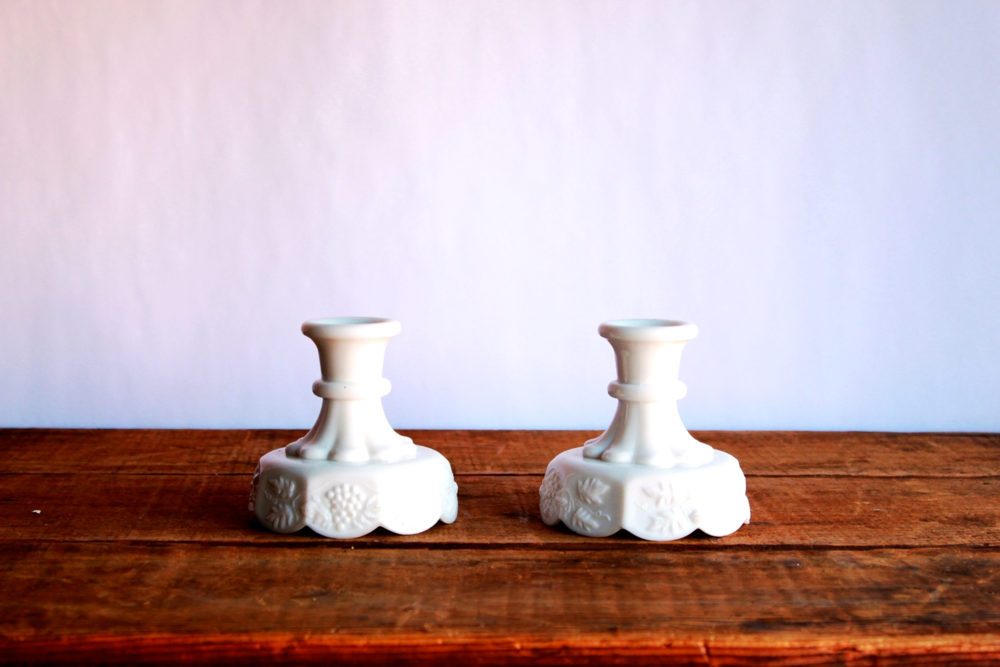Short Milk Glass Candlesticks