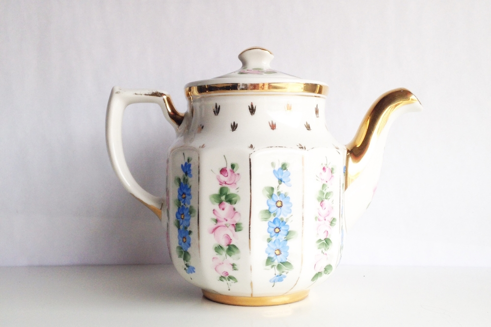 Large Golden Floral Teapot