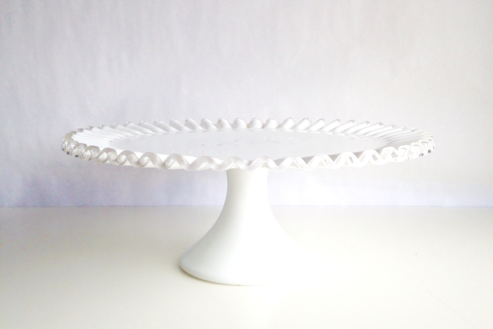 Fluted Milk Glass Cake Stand