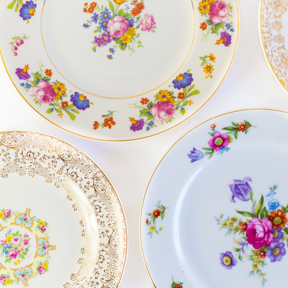 Golden Floral Salad Plates
