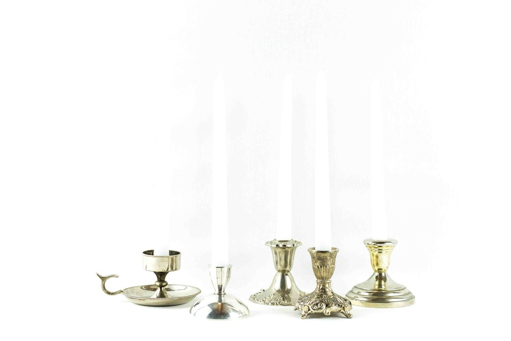 Short Silver Candlesticks