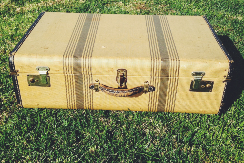 Vintage Tan and Brown Suitcase
