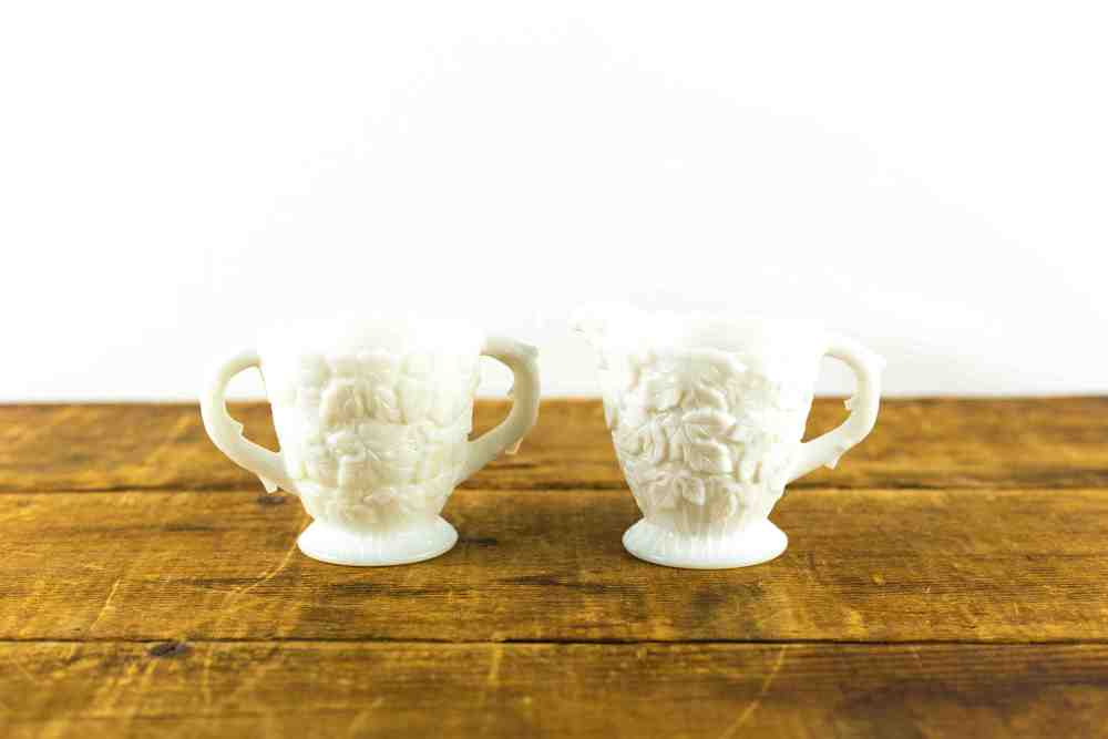 Milk Glass Leaf Patterned Creamer + Sugar Set