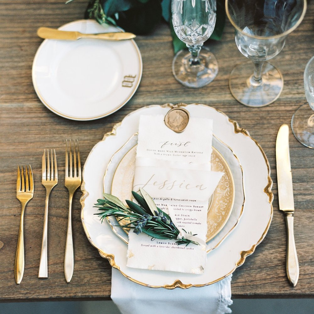 White + Gold  Collection Dinner Plates