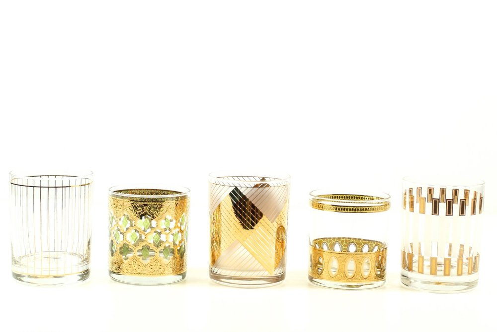 Vintage Rocks Glasses With Gold Detailing