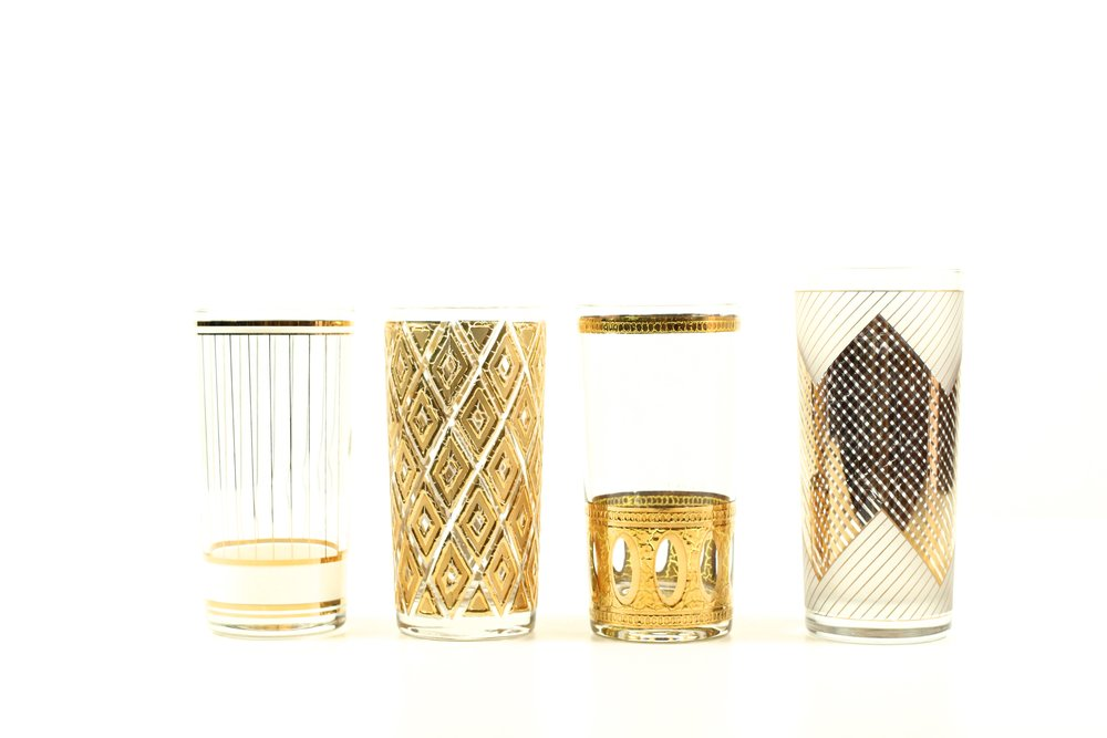 Vintage Tumbler Glasses With Gold Detailing