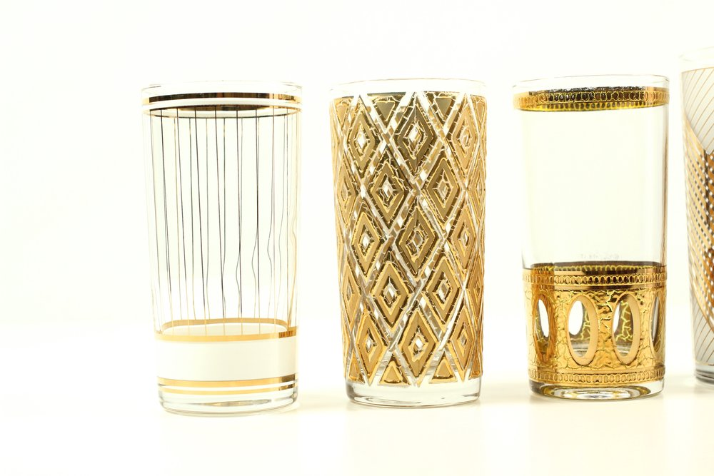Vintage Gold Tumbler Glasses