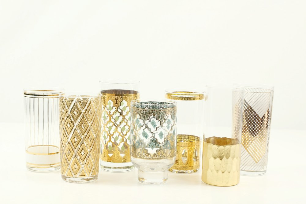 Vintage Gold Tumbler Glass