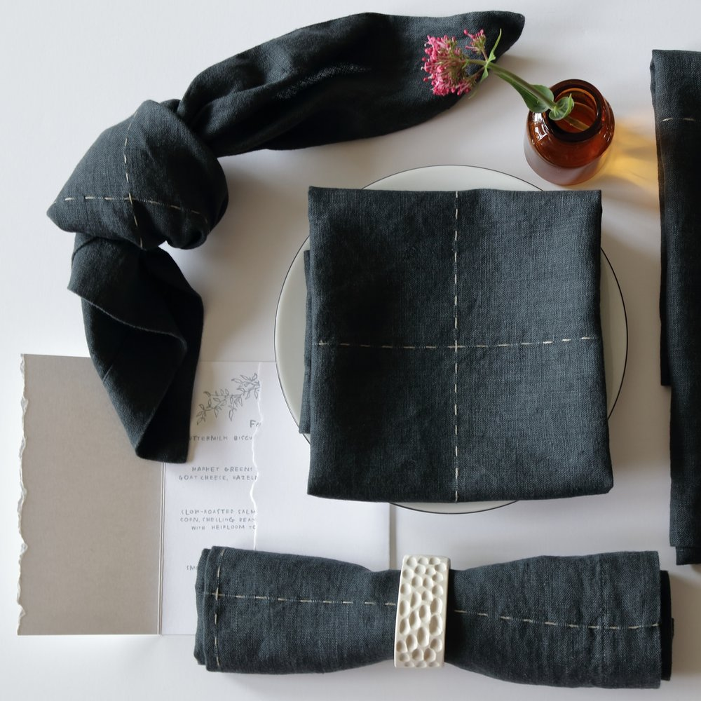 Charcoal/Light Grey Linen Napkin