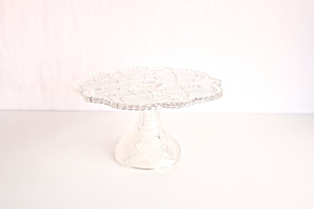 Crystal Cut Flower Cake Stand