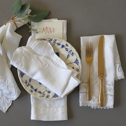Assorted Vintage White Napkins