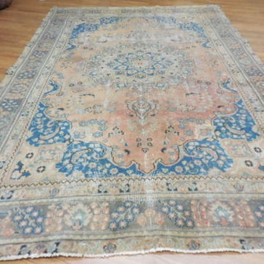 Blue and Peach Area Rug