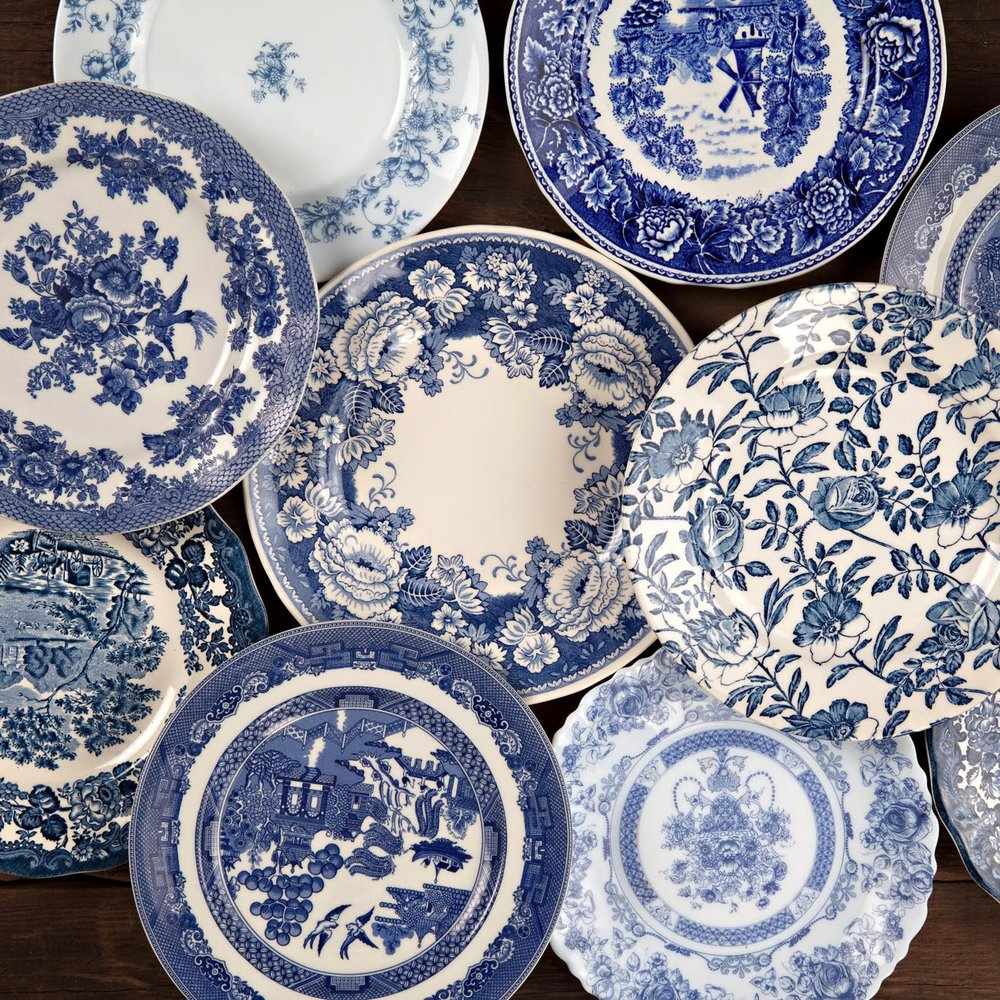Blue + White Salad Plate