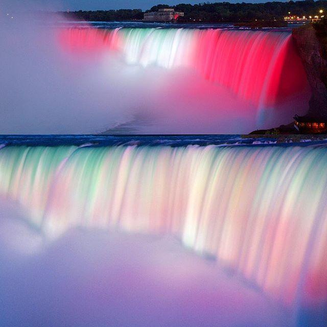 Niagara Fall on Canada Day July 1st! Happy 150th Canada! #canada150 #canada #niagarafalls #lights #redandwhite
