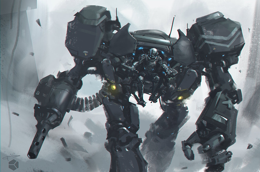 KJ Yu's personal work - concept art, mechsuit