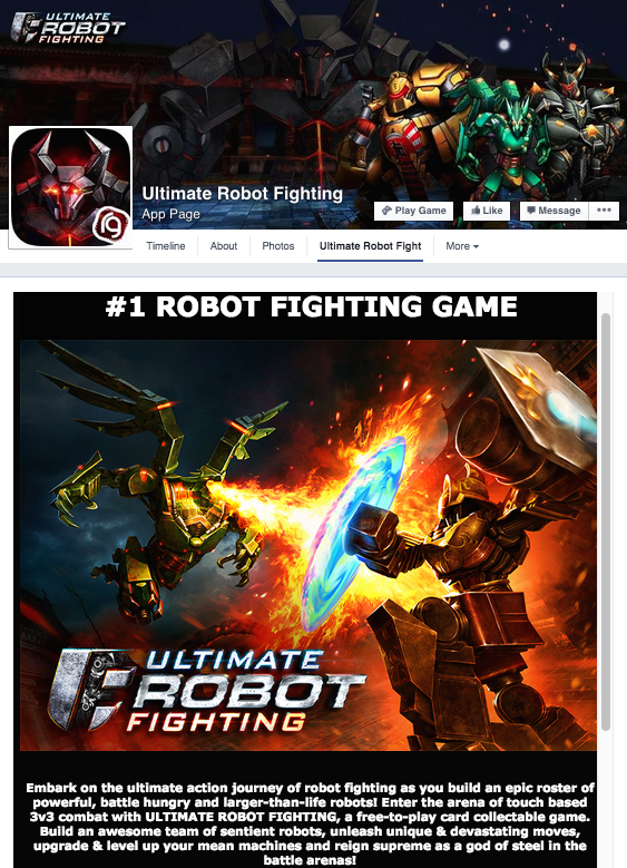 Ultimate Robot Fighting splash art created by Concept Art House -- appears on Facebook.
