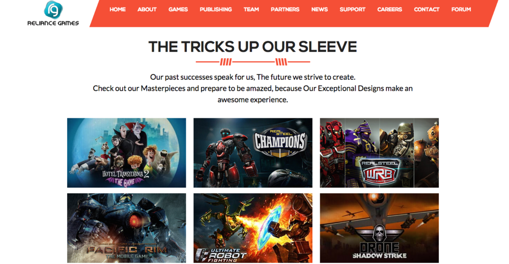 Concept Art House art showcased on the Reliance Games website.