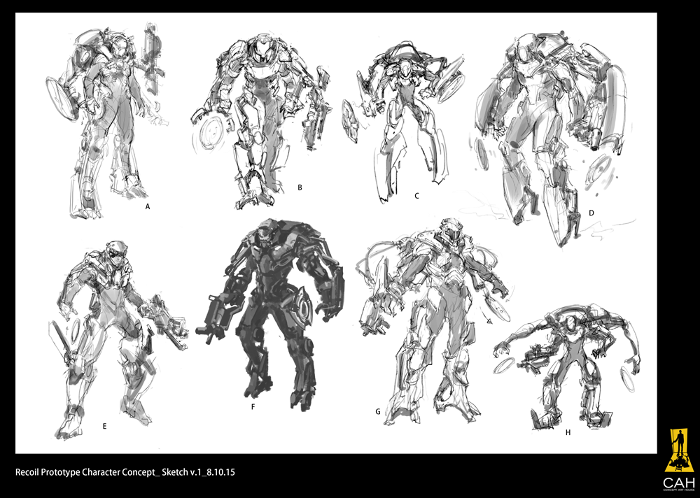 First iteration of Ripcoil character sketches