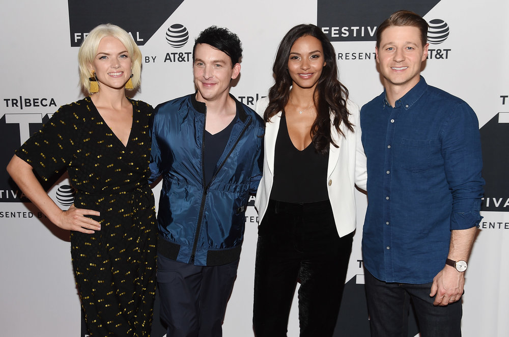 Erin Richards, Robin Lord Taylor, Jessica Lucas and Ben McKenzie attend the Tribeca TV Festival sneak peek of Gotham at Cinepolis Chelsea on September 23, 2017 in New York City. (Photo by Nicholas Hunt Getty Imag.jpg