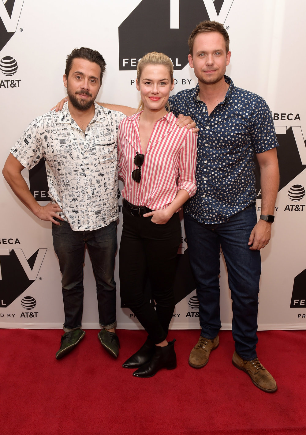 Mike Piscitelli, Rachael Taylor and Patrick J. Adams attend the Tribeca TV Festival screening of Pillow Talk at Cinepolis Chelsea on September 23, 2017 in New York City. (Photo by Jason KempinGetty Images for Tri.jpg
