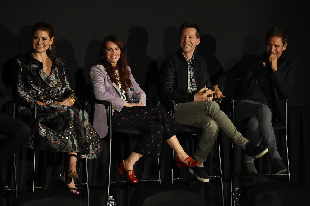 Debra Messing, Megan Mullally, Sean Hayes and Eric McCormack attend the Tribeca TV Festival exclusive celebration for Will & Grace at Cinepolis Chelsea on September 23, 2017 in New York City. (Photo by Nicholas H.jpg