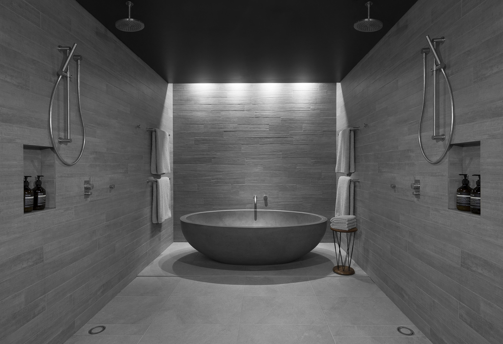 LARGE OVAL BATH IN CONCRETE