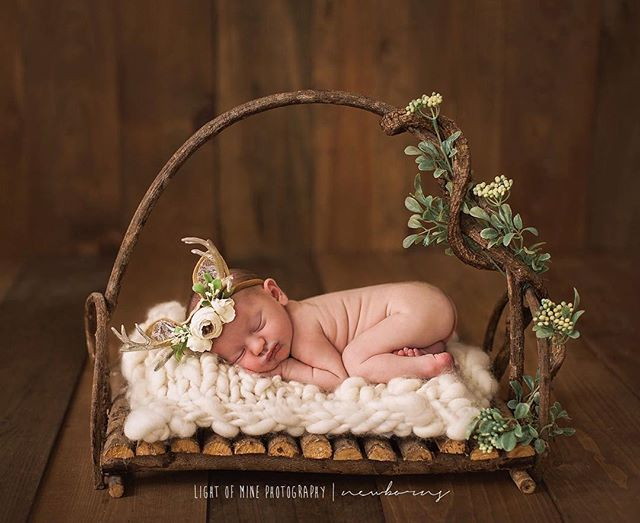 So many baby girls in the studio lately. 😍🎀 . . . . . . . . #greenery #antlers #deer #rustic #natural #naturallight #girlmom #pretty #florals #cny #cnyphotographer #newborn #babygirl #syracuse
