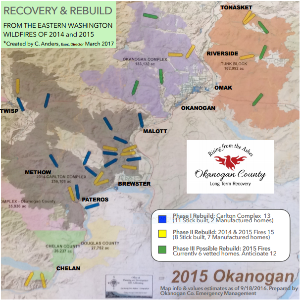 This image shows the areas affected by the '14 and '15 fires as well as the locations of our rebuild sites .