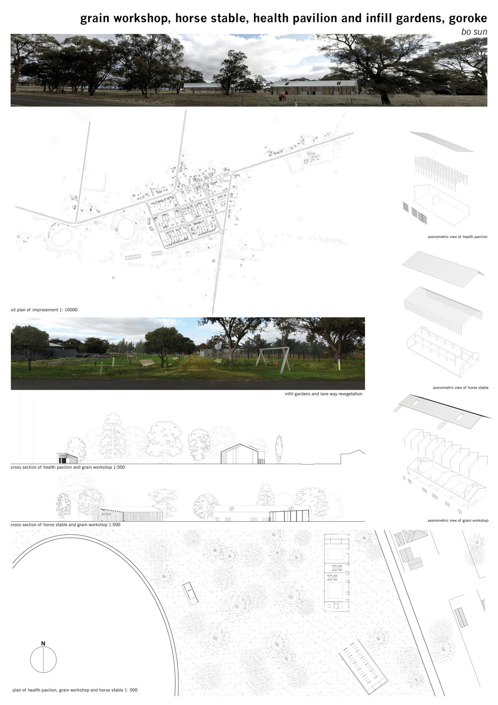 A series of pavilions and open spaces are proposed to house equine therapy and recreation programs.