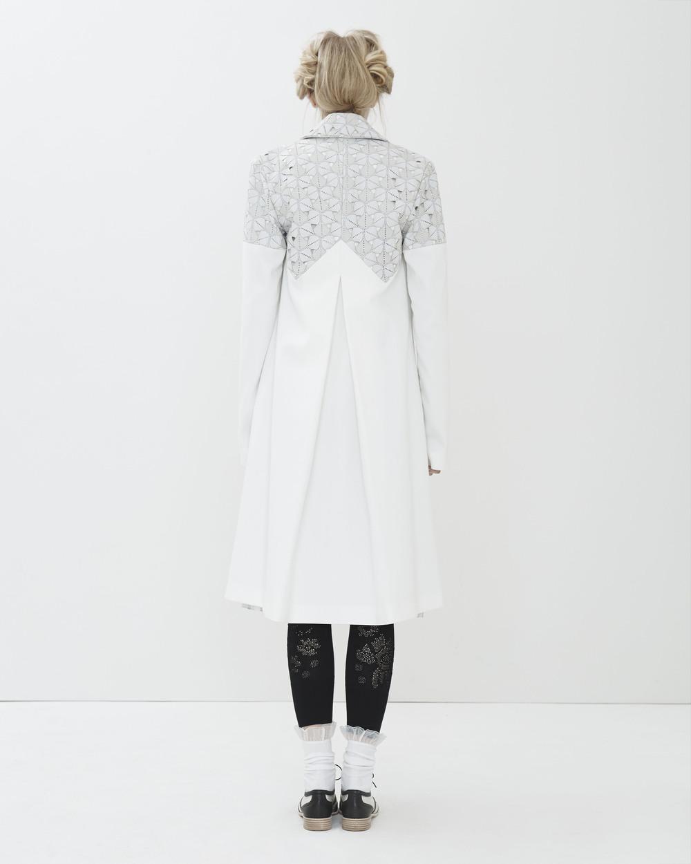 Ali Rose 2015 Look 3: 'Katherine' Lab Coat, 'Tourniquet' Shirt Dress, 'Eileen' Lace Legging
