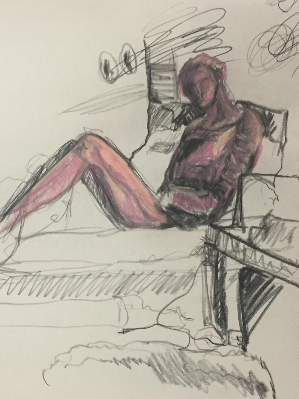 Self-Portrait: Impatient Hope, Charcoal & Conte Crayon, Spring 2015