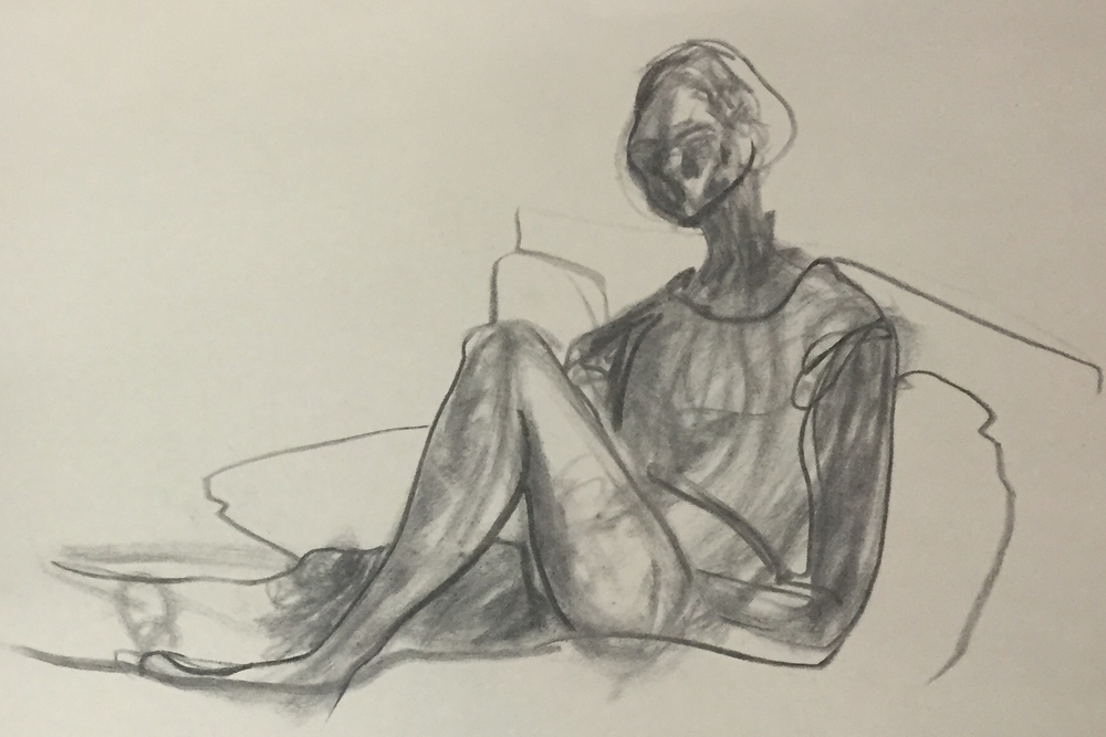 Self Portrait in Bed, Charcoal, Spring 2015