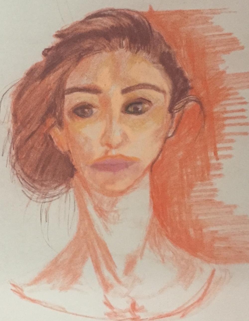 Self-Portrait, Conte Crayon, Spring 2015