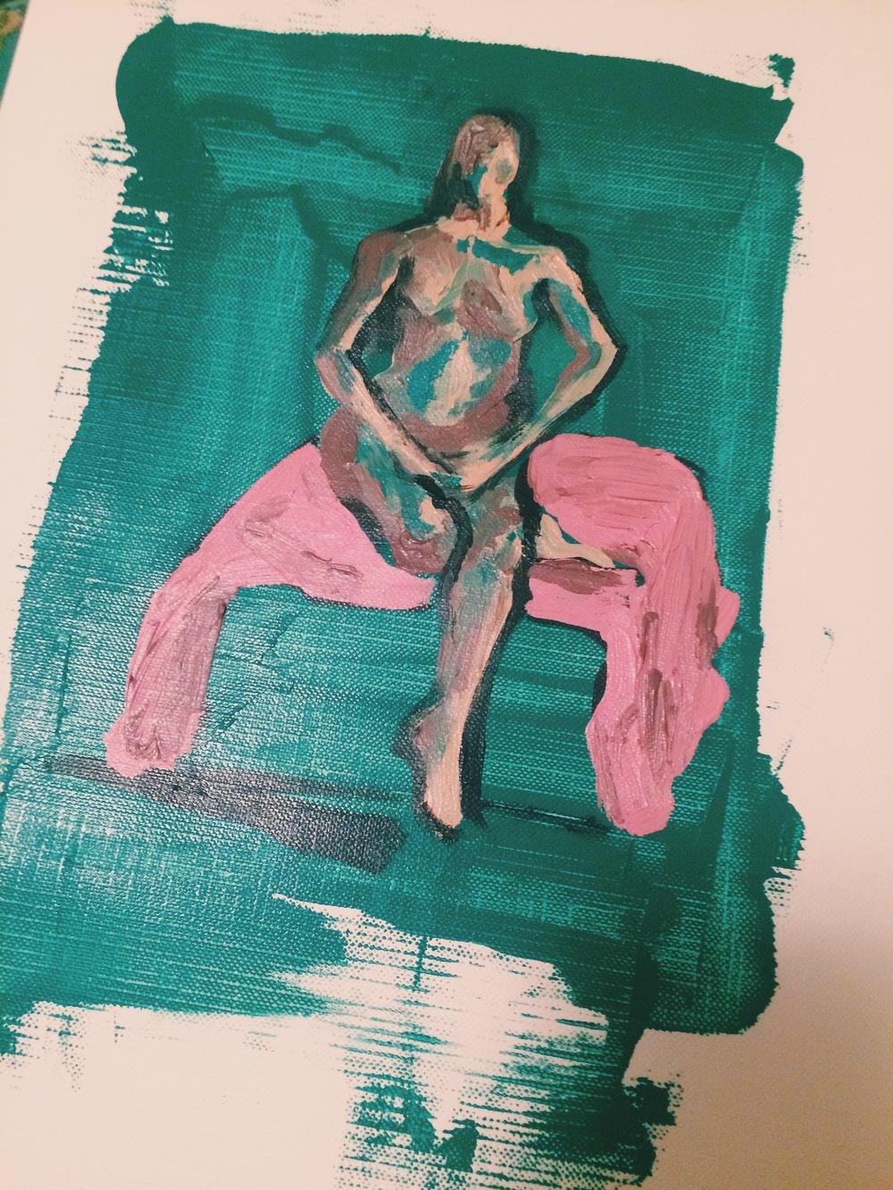 Figure Study : acrylic on canvas pad