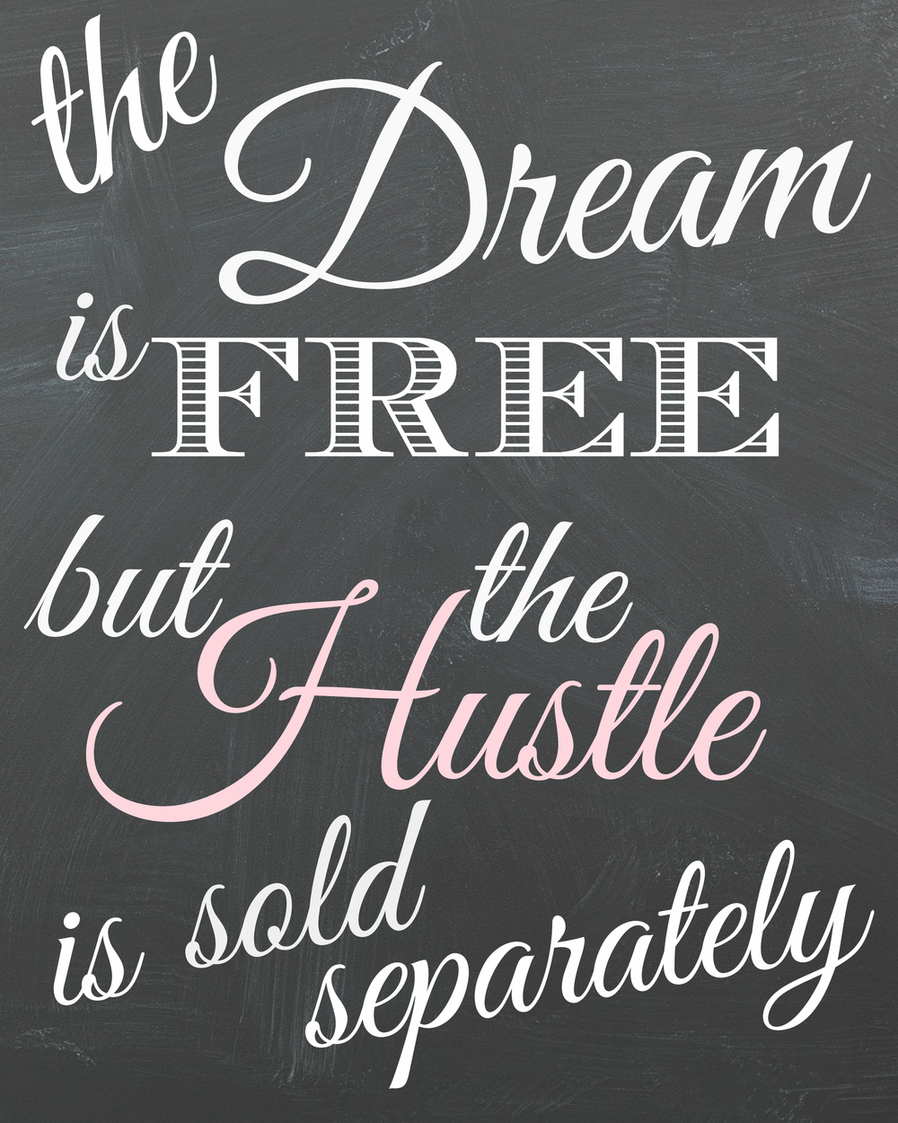 This image is above my desk, and occasionally in my blog videos. It reminds me to keep working towards my goals. Feel free to print it - royalty free (I created it) - as my gift to you and a reminder to hustle.