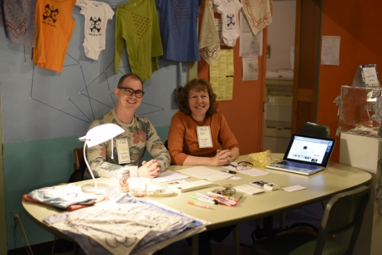 Gallery team members Matthew Fleming and Bea Drysdale signing up sustaining members at PS1 May Day event (2016)