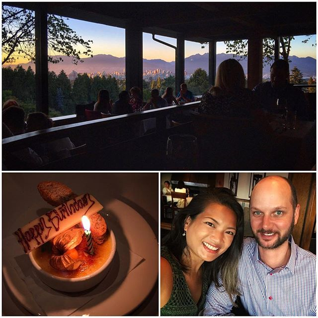 Fabulous sunset birthday dinner at Seasons in the Park. After dinner we went for a stroll around Queen Elizabeth Park and we saw a shooting star!!! 🌄💫