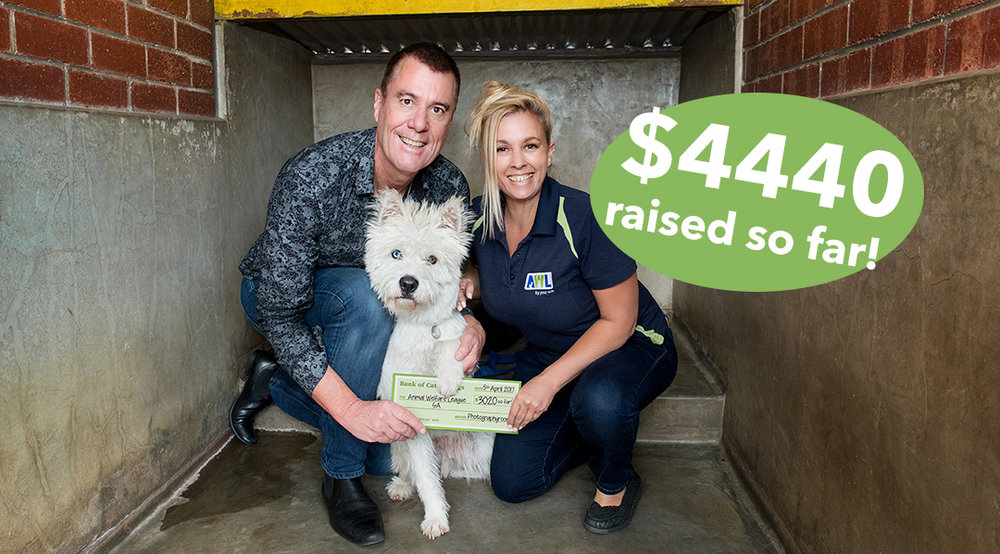 Multi-Award Winning Photographer Mark Trumble presenting a cheque to Wesley the Dog & Sabine Kloss, Marketing & Income Development Manager at the Animal Welfare League