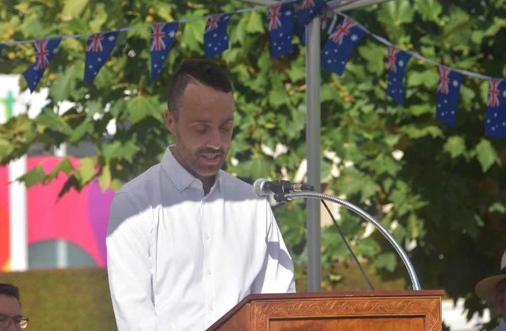 James Fry delivering the 2019 Australia Day Address. Image: Inverell Times